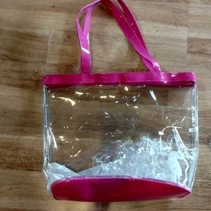 Handbags - New Pink Trim Transparent Tote